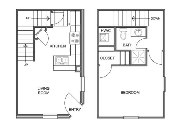 The layout and floorplan of the Aspen Townhome
