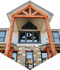 a larger hexagonal image of the clubhouse at creekside townhomes